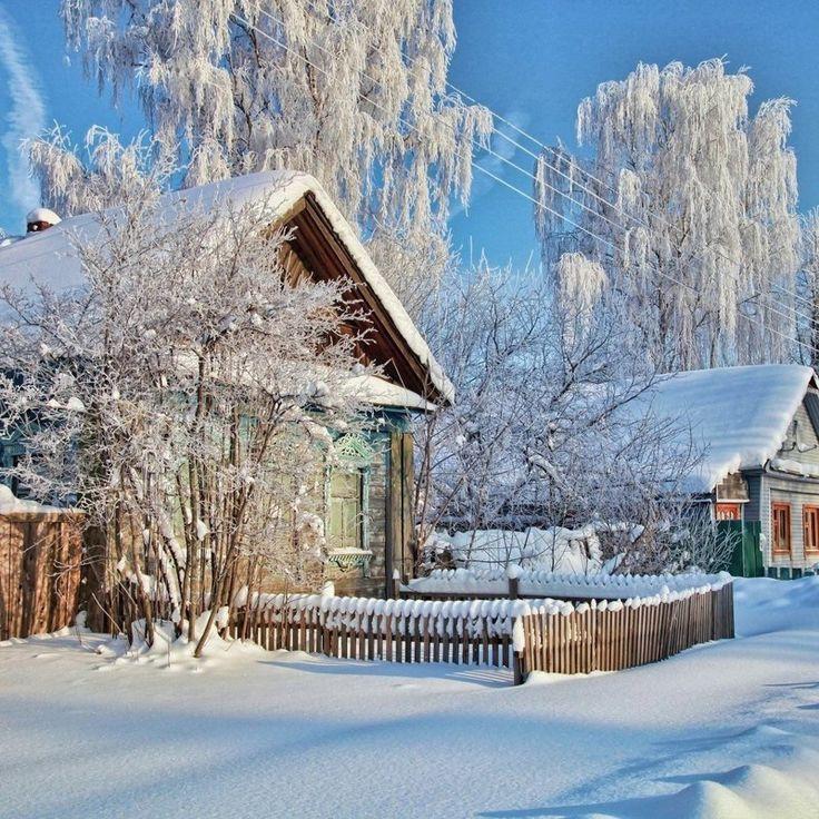 фото зимний сельский пейзаж