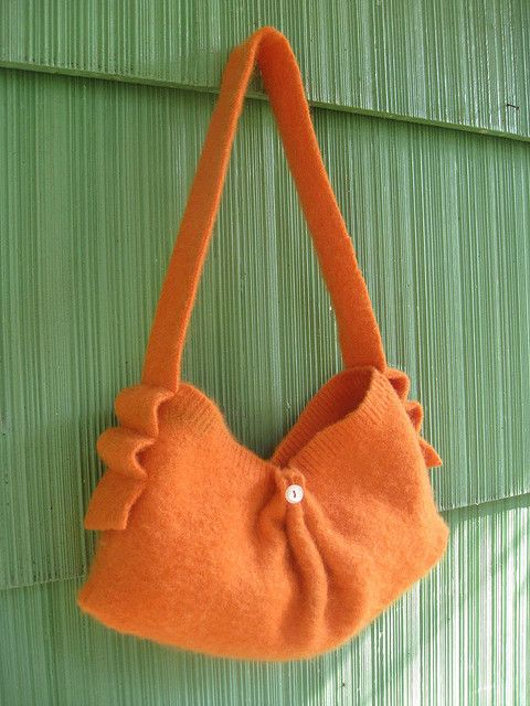 orange recycled sweater purse...I would carry this in a heartbeat!