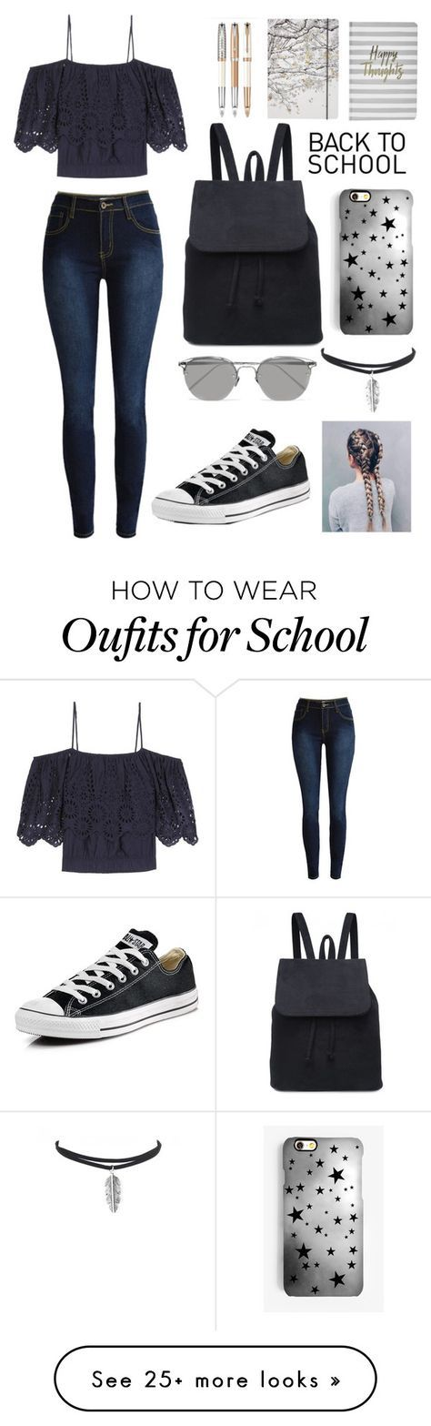 """Back To School Outfit"" by kirsty-mckenzie44 on Polyvore featuring Ganni, Boohoo, Go Stationery, Converse, Rianna Phillips and Linda Farrow"
