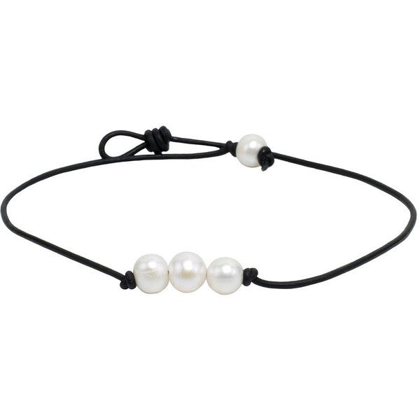 FREE SHIPPING on Pearl Leather Necklaces. Three High Grade Freshwater... ($21) ❤ liked on Polyvore featuring jewelry, necklaces, leather necklace, black leather necklace, black necklace, fresh water pearl necklace and black leather cord necklace