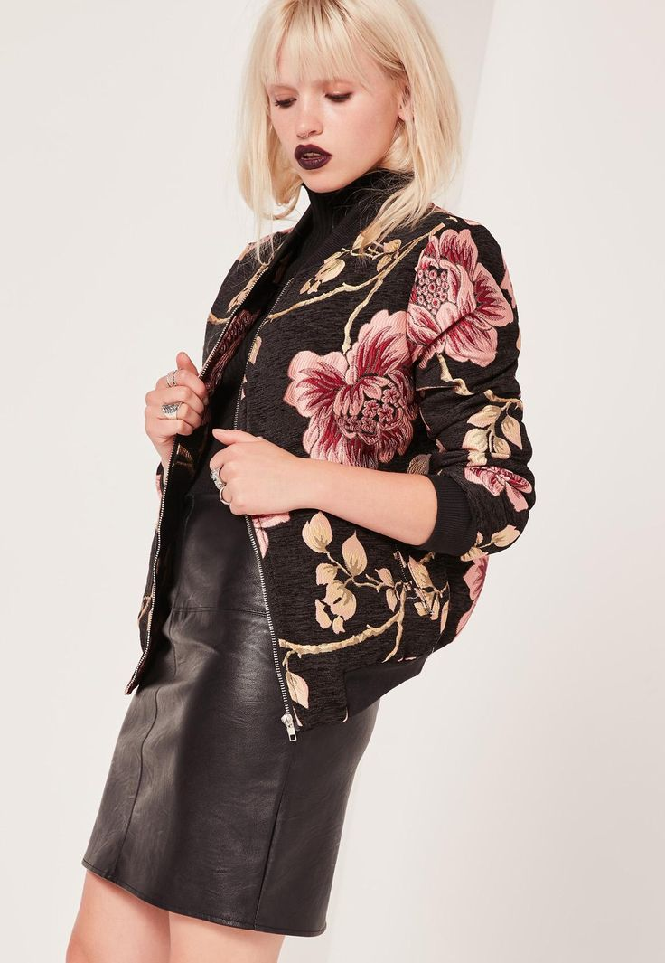 Missguided - Bomber noir fleuri Premium effet brocart
