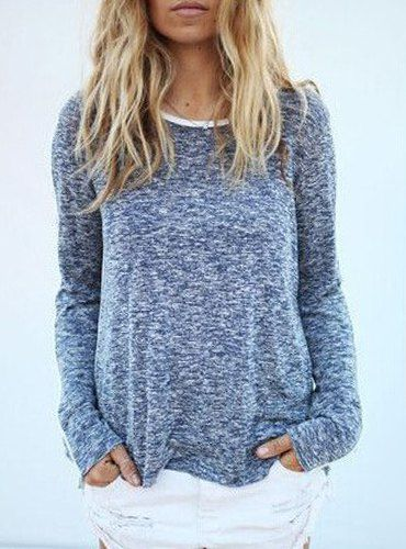 Casual Scoop Neck Long Sleeve Loose-Fitting Sweater For Women
