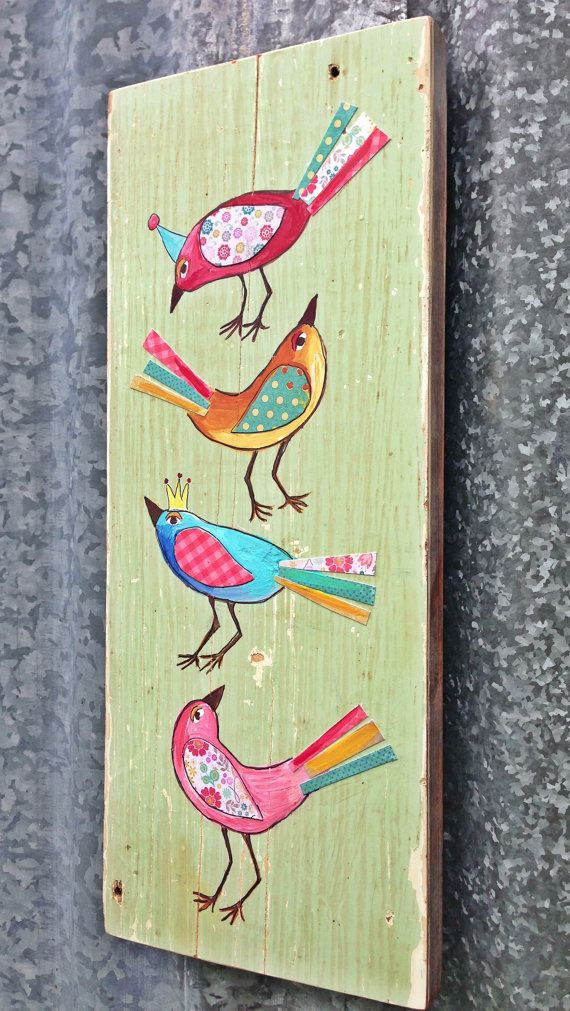 Spring  Birds Modern Folk  by evesjulia12 on Etsy, $58.00