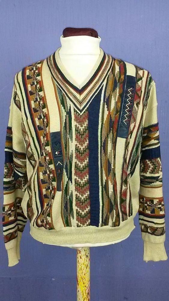 Vintage Pattern-V Neck Jumper-Multi Colour-Size XLarge-Slouchy Baggy-Grunge