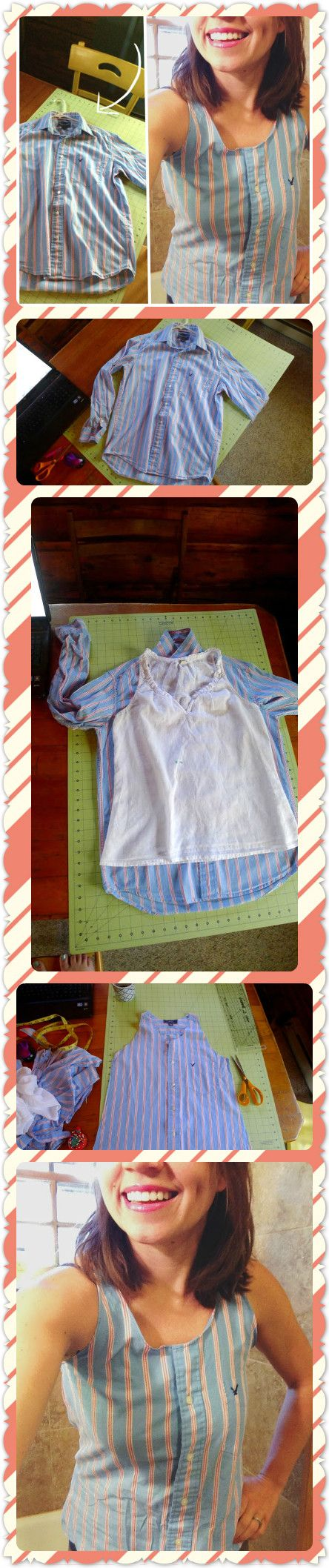 45 best upcycle images on pinterest diy mens dress shirt to super cute summer top great spring project to solutioingenieria Gallery