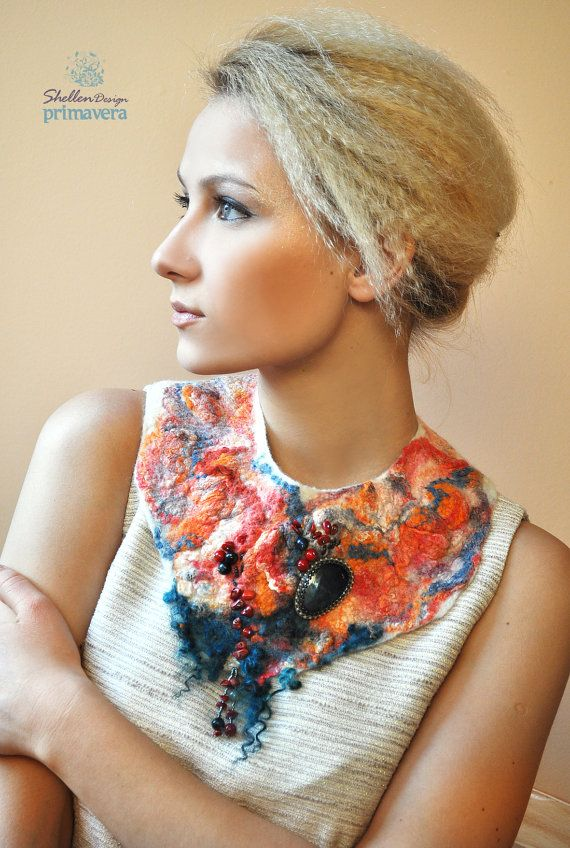 Hand+felted+nuno+Necklace+collar+Orange+Turquoise++by+ShellenD,+$75.00