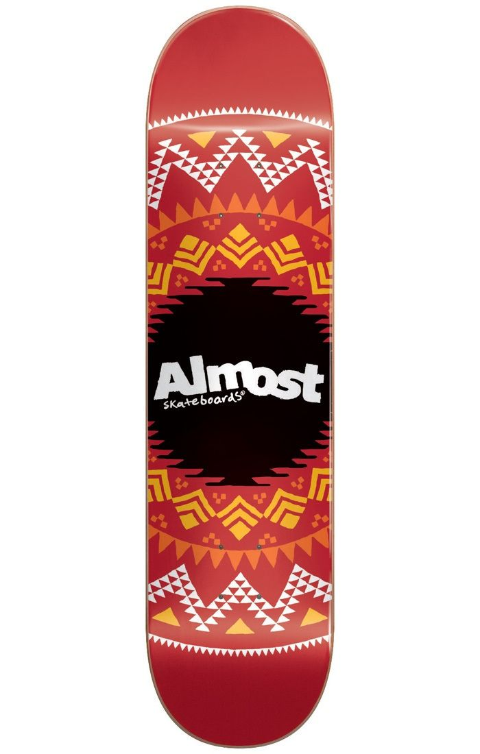 #Almost Skateboards Almost Geo Aztec Skateboard Deck - Red 7.75` #Give your setup a mythical makeover with the Geo Aztec Skateboard Deck range from Almost! Featuring an archaeological aesthetic throughout the base of the board, this tribal treasure is sure to help leave your mark on history! Dig up your old setup and dust off some skills with this find of the century by your side!Dimensions:Length: 31.2Width: 7.75Wheelbase: 13.88Concave: Full with steep kickMaterials:Construction: 100% 7-Ply…