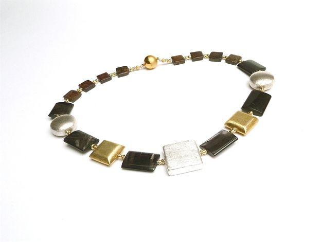 Labradorit - Collier Art Deco Geometrie Silbergold Halskette - ein Designerstück von MANOLO-UNIKATE bei DaWanda