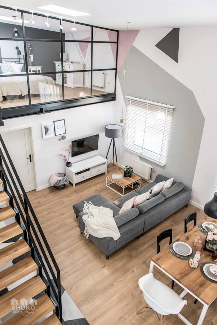 Salon loft scandinave vu de haut deco pinterest for Sejour style industriel