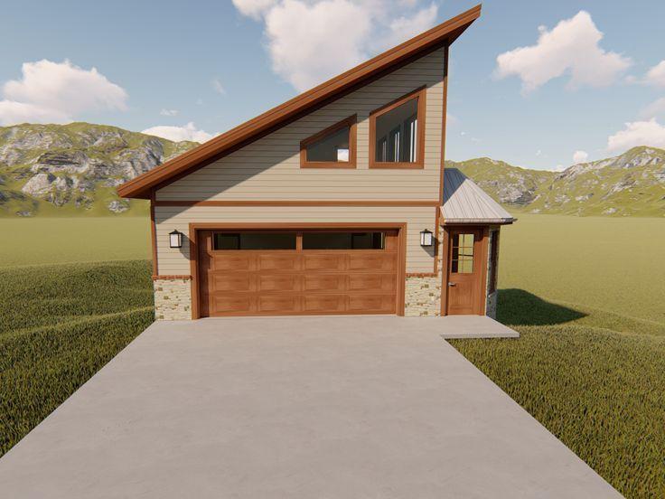 065g 0002 Unique Garage Plan With Loft And Lower Level Parking Modern Style House Plans Garage Plans With Loft Garage Plans