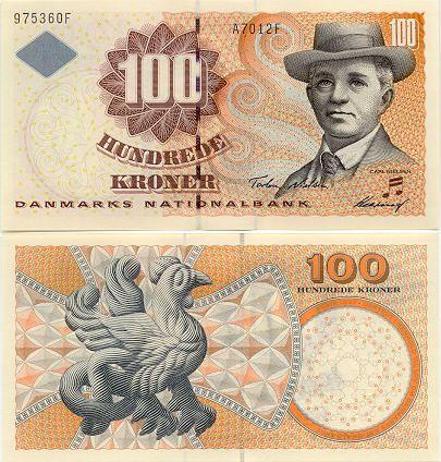 Denmark  100 Kroner 2001 (Carl Nielsen; snake-cock basilisk)