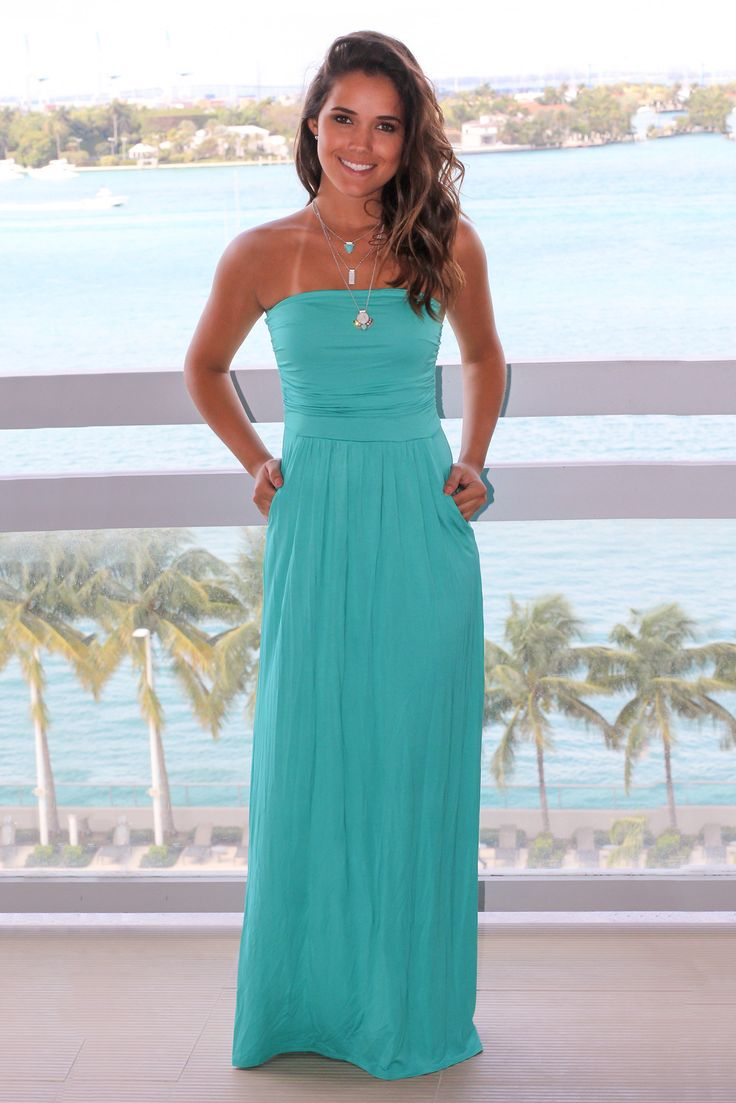 Strapless Turquoise Maxi Dress with Pockets