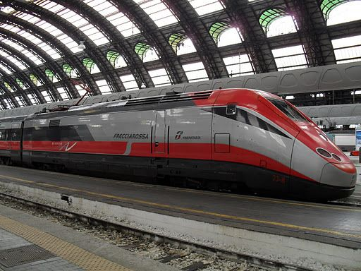 "The high-speed Italian Train, the ""Freccia Rossa"" or ""Red Arrow"""