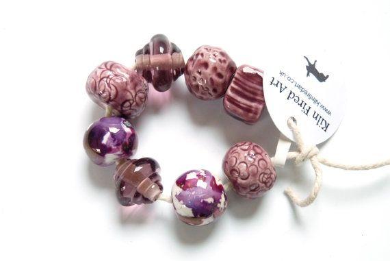 Handmade beads 8 porcelain beads & glass beads by KilnFiredArt