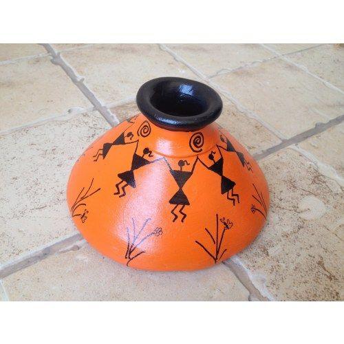 Orange Handmade Hand Painted Terracotta Vase with Warli Art