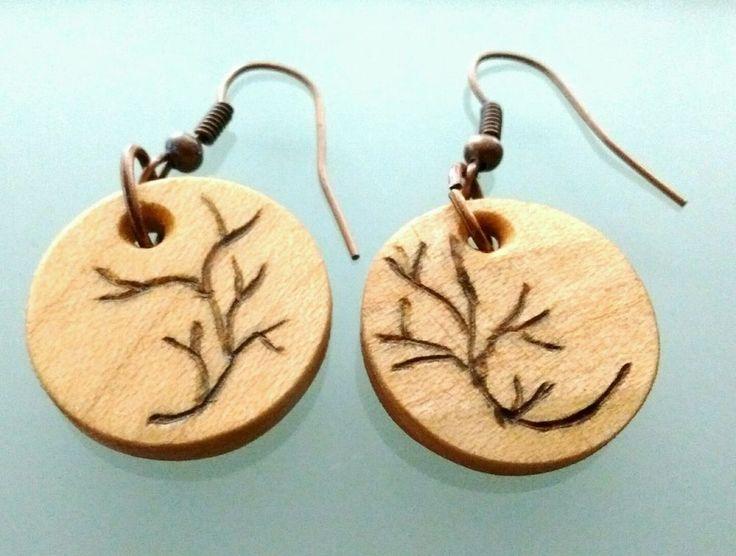 Handmade Round Maple Wood Fish Hook Earrings With Burnt On Tree Design #Handmade #FishHook