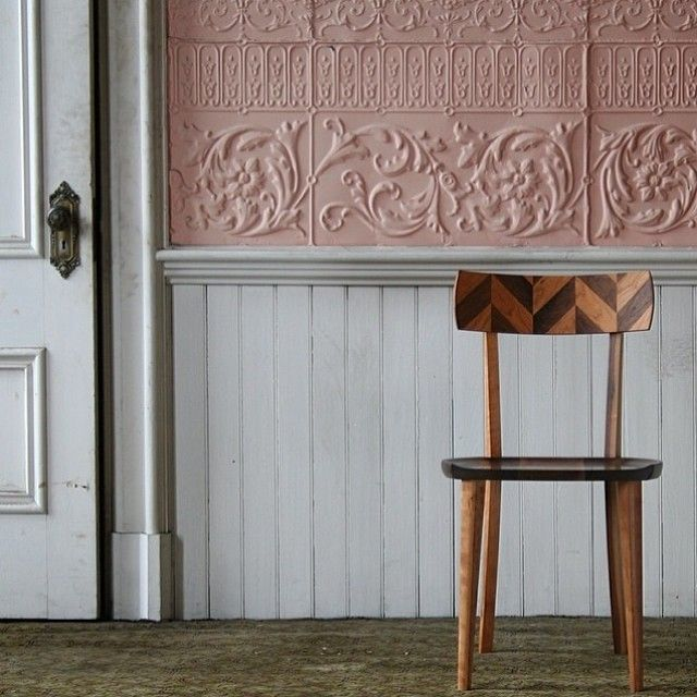 pink pressed tin inlay timber chair