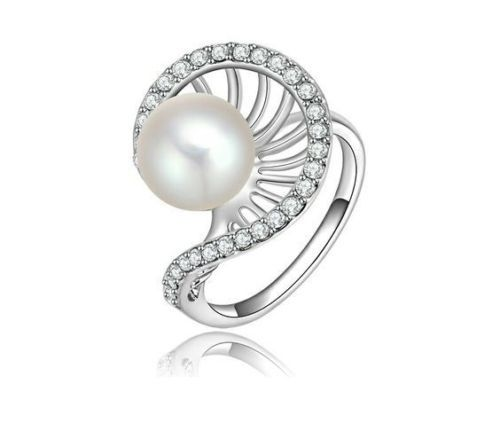 Silver-925-Plated-Heavy-Pearl-Diamond-Wedding-Ring-for-Female