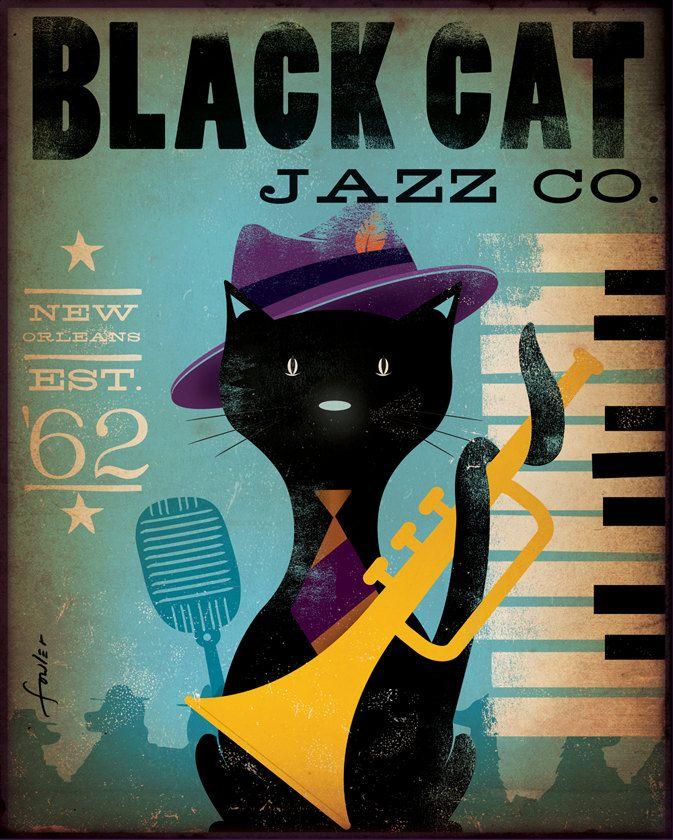 Black cat Jazz Bar original graphic illustration by geministudio, $95.00