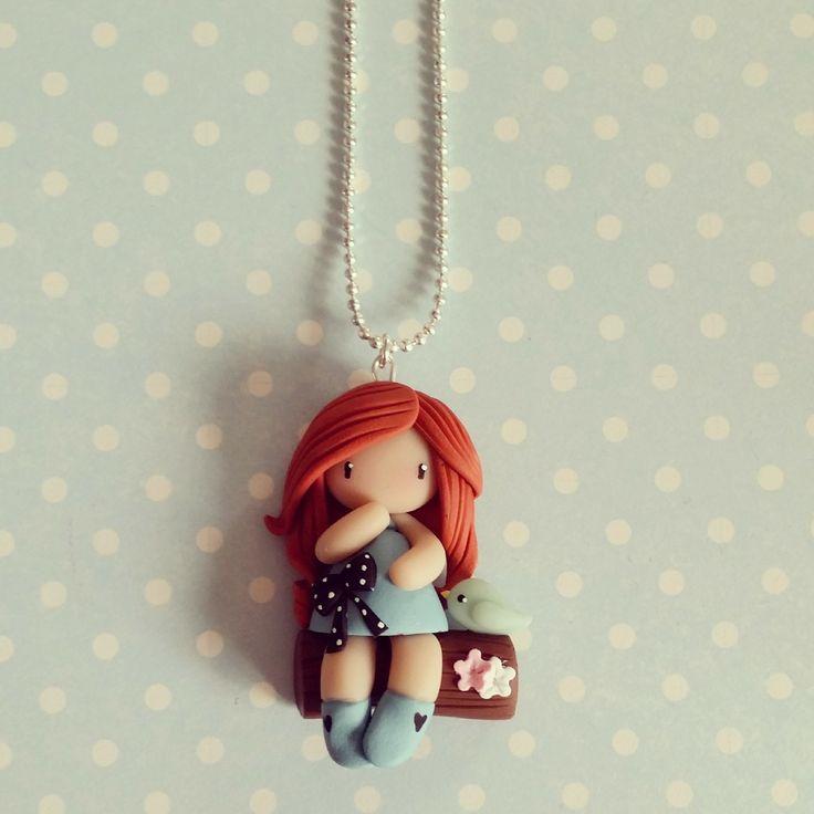 Collier Inspiration Gorjuss - Petite fille sur l'arbre - bleu ciel : Collier par madame-manon