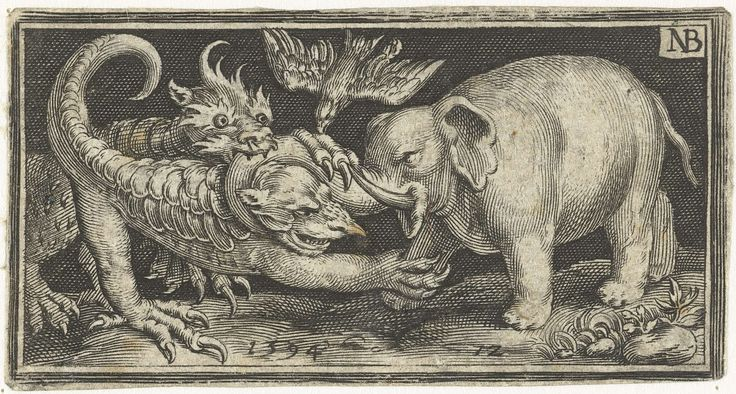 Nicolaes de Bruyn   Olifant in gevecht met fantasiewezens, Nicolaes de Bruyn, 1594   Olifant in gevecht met fantasiewezens die met hun klauwen naar hem uithalen. Een vogel, mogelijk een kraai, valt de klauwende beesten aan.