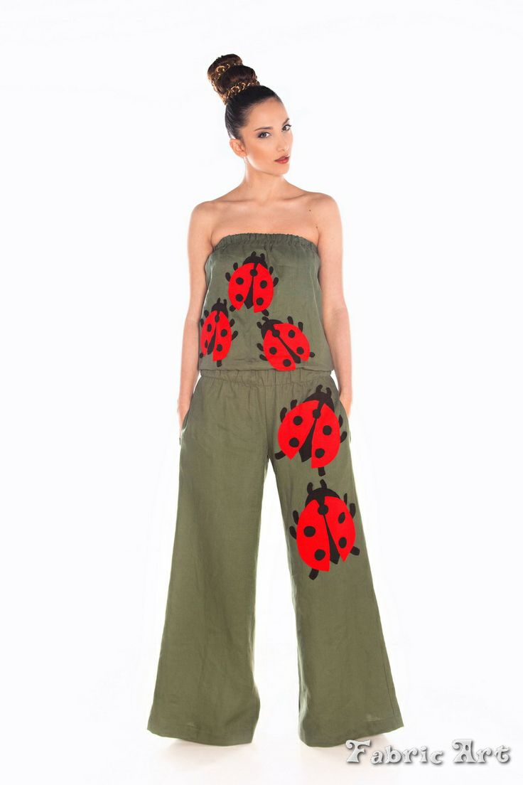 "Wide leg strapless linen jumpsuit with handmade applique ""Ladybugs"""