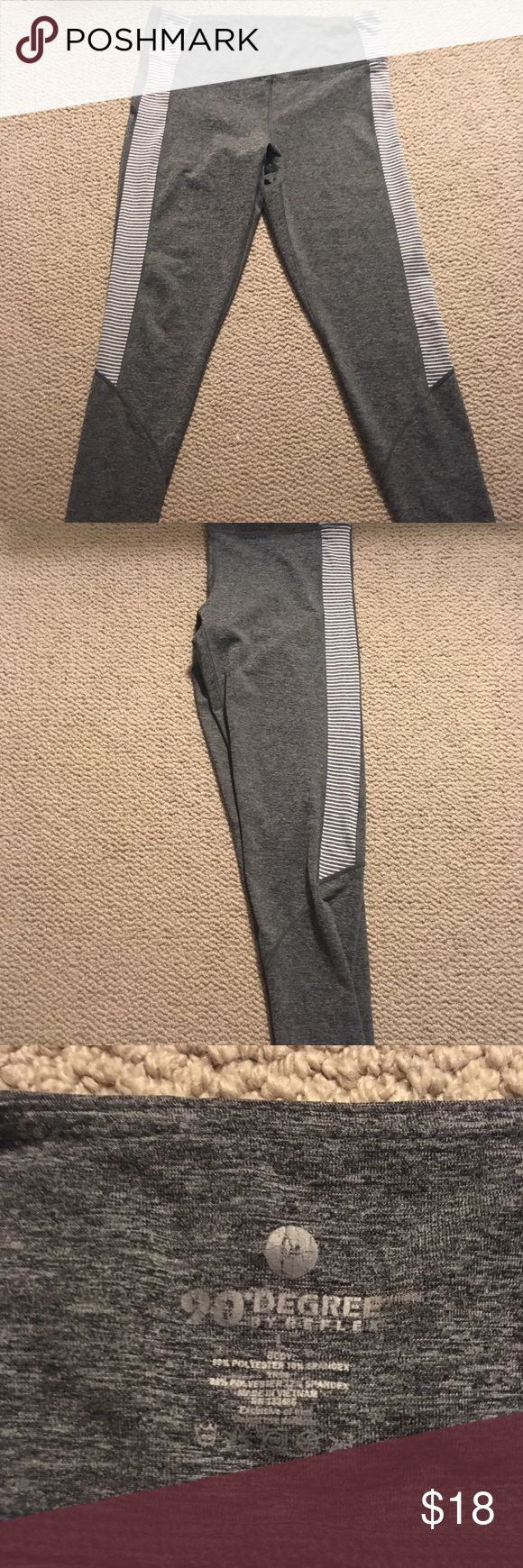 """90 degree by reflex gray and striped long leggings These flex leggings by 90 degree by reflex are stretchy and gray with light gray and white striped patterns on the side. Inseam 26"""". Perfect for yoga or barre class. Only worn a couple of times and in EUC! 90 Degree By Reflex Pants"""