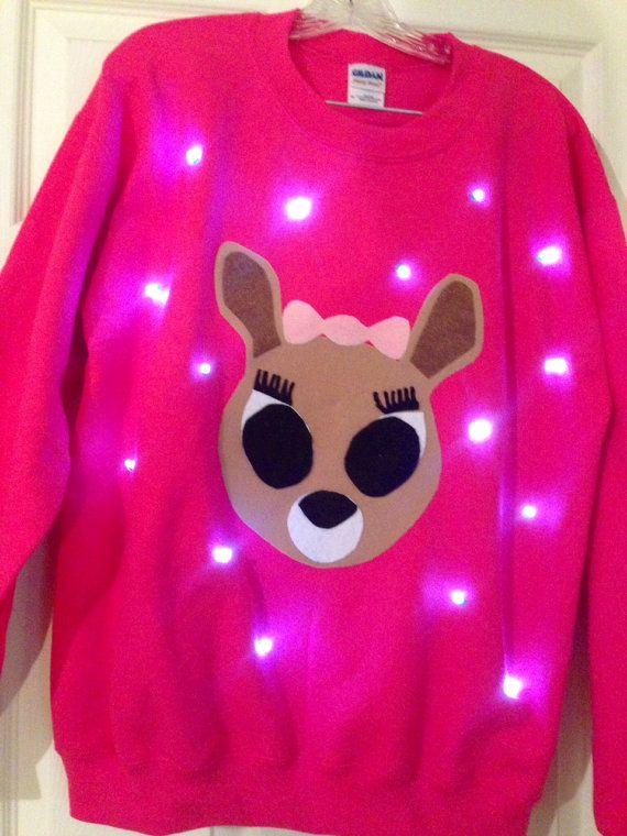 "LIGHT UP ""ugly Christmas sweater""!  A perfect match to go with her boyfriend, Rudolph!"