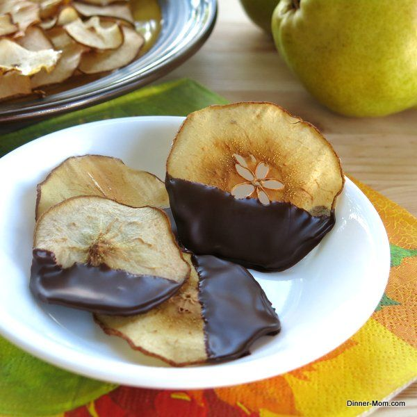 Baked Pear Chips Dipped in Chocolate - Healthy decadence!