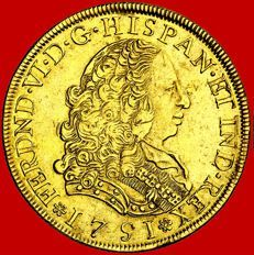 Spain – Fernando VI (1746-1759) 8 gold escudos – Lima – 1751.
