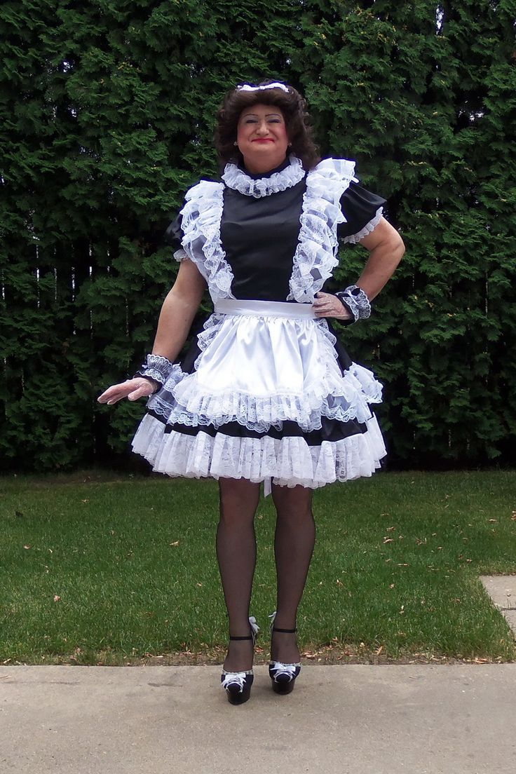 Posing in my G1232 Satin French Maid Uniform.