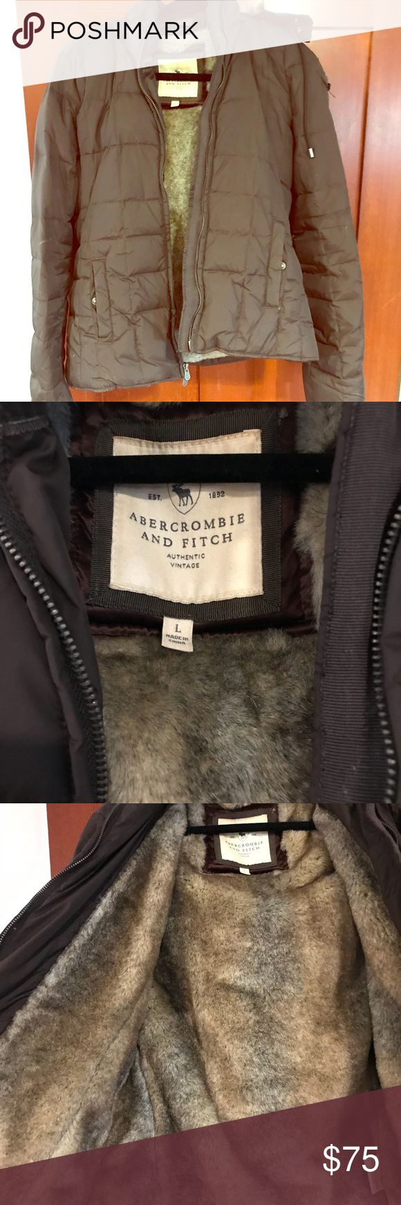 Abercrombie and Fitch Faux Fur Coat Size L, Faux Fur very heavy winter coat. Worn less than 5x. Originally was $300. Abercrombie & Fitch Jackets & Coats