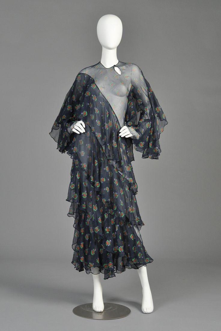 """c. 1970 Ossie Clark/Celia Birtwell silk chiffon """"Ziggy Stardust"""" dress"""