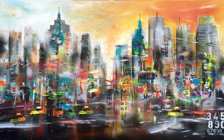 """Obsessed with this new painting """"Manhattan"""" 100 x 160 cm / 39"""" x 63"""". This eye-catcher has it all! #nyc #manhattan #art #picoftheday #soho #douglaselliman #zwierigfiguratief #newyork"""