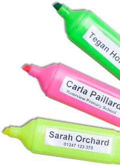 Neatly labeled markers making identifying stationary much easier! Get your own here http://labels4school.co.uk/order-your-labels-online