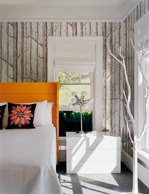 25 best ideas about orange bedding on pinterest bright for Bright bedroom wallpaper