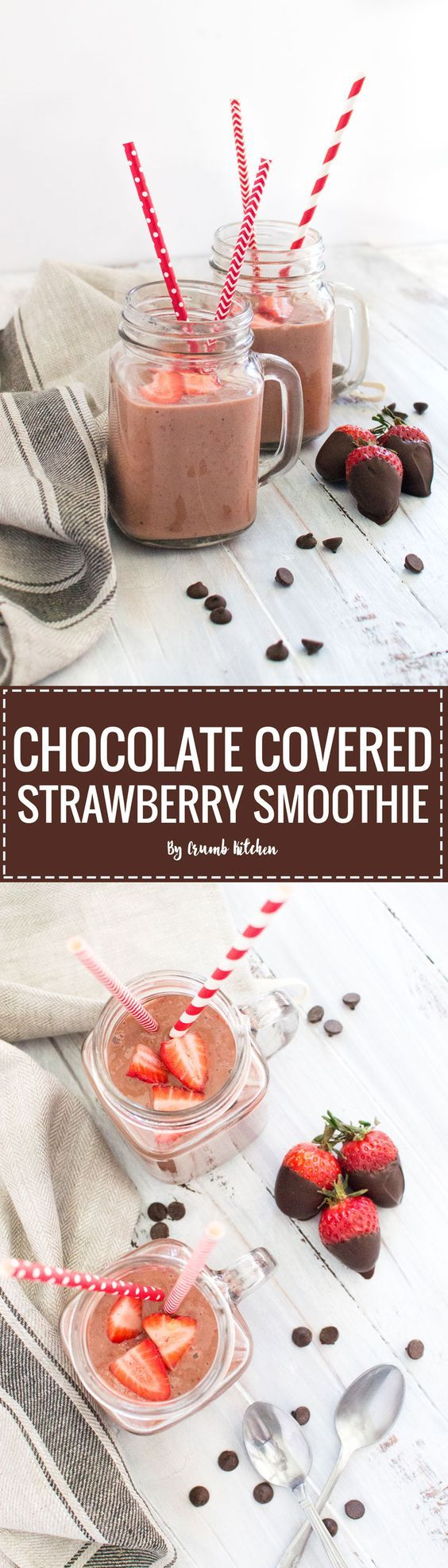 Frozen strawberries and bananas blended up with a kick of pure cocoa powder creates this healthy Chocolate-Covered Strawberry Smoothie.   crumbkitchen.com. Delicious kids smoothie!