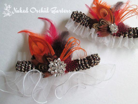 Leopard Wedding Garters Fall Orange Harvest by NakedOrchidGarters, $70.00 #peacockgarter