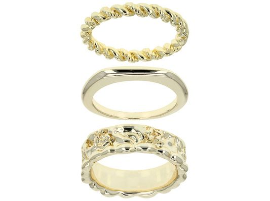 Moda Di Pietra(Tm) 18k Gold Over Bronze Set Of 3 Stackable Band Rings