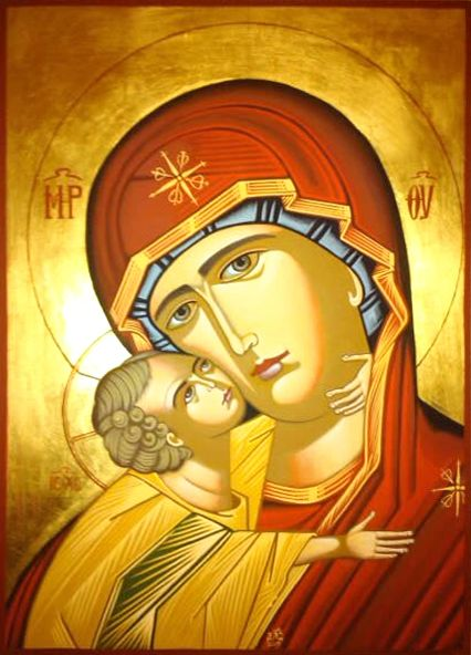 """Byzantine icon of the Mother of God """"Sweet Kissing"""" known in Greek as """"Glykophilousa"""", depicts the Virgin Mary caressing her son, so that they appear to be kissing. In the Byzantine representations, the Child caresses her cheek while she appears sad, seemingly contemplating his coming Passion. Icon by Ikon Atelier. www.ikonatelier.com.au"""
