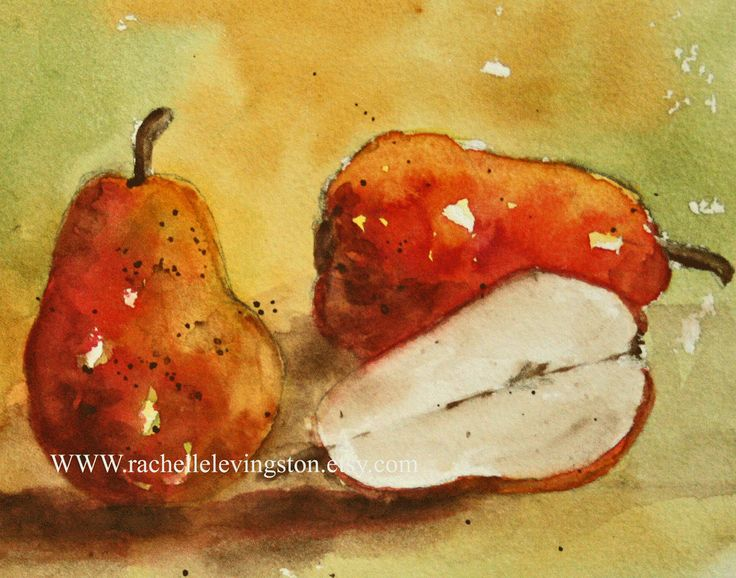 Art For Kitchen Large Pear Painting (Kitchen Wall Art) 11 X14 Red Fruit  PRINT