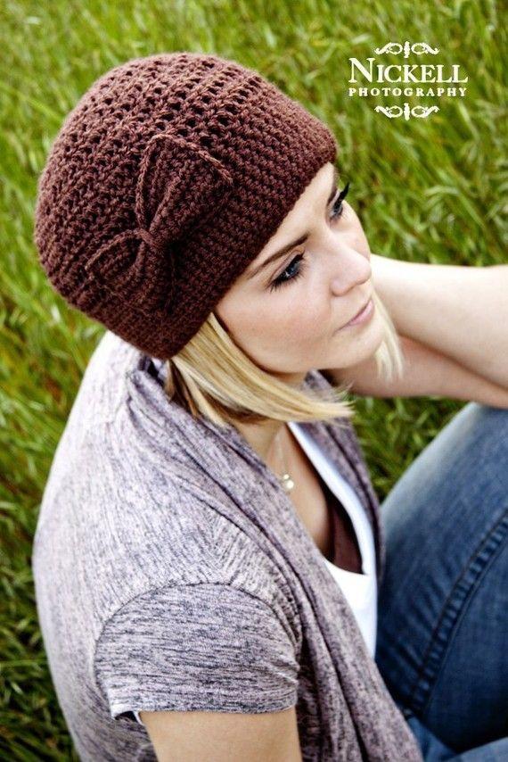 Women's Crochet Cloche Hat with bow crochet beanie by LapofLuxury, $28.00
