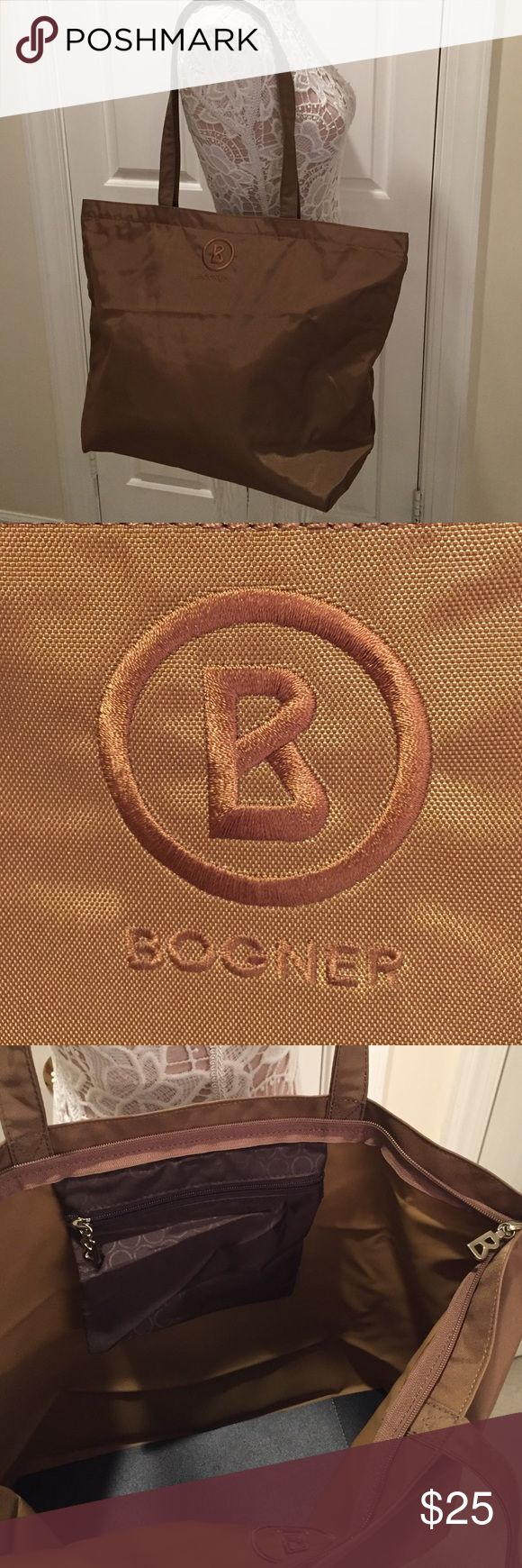 Bogner Zippered Nylon Tote Bag Bogner Zippered Nylon Tote Bag has a reinforced bottom and inside zippered pocket. Lined with a wipeable finish. Unused. Bogner Bags Totes