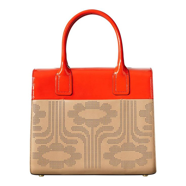 Beige/Red Punched Leather Climbing Daisy Margot Bag - Orla Kiely Accessories - Private sales | BrandAlley