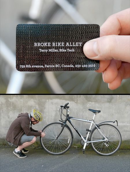 Tire Patch Business Card  Useful business card will help you fix a flat tire and safely get to the Broke Bike Alley bike shop.