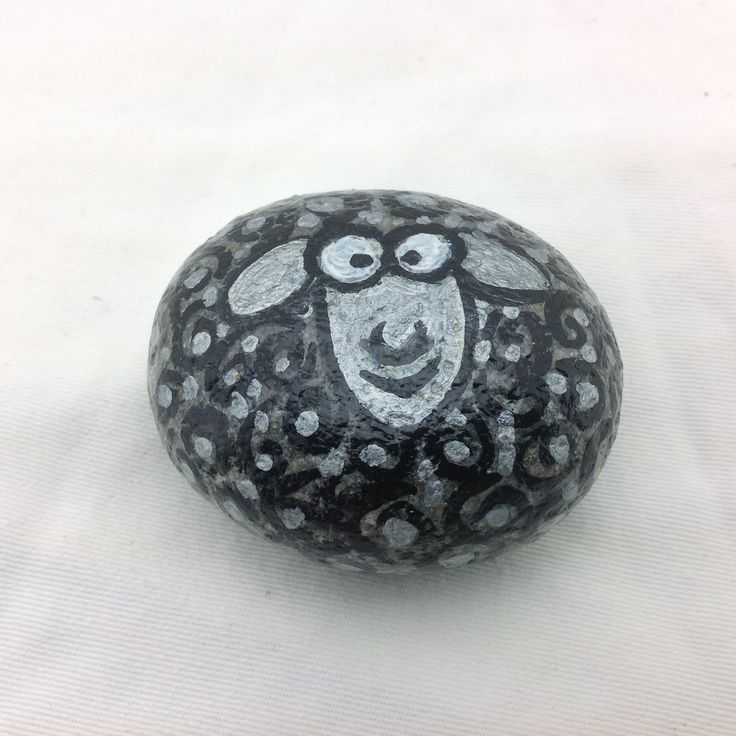 Black Sheep Hand Painted Rock