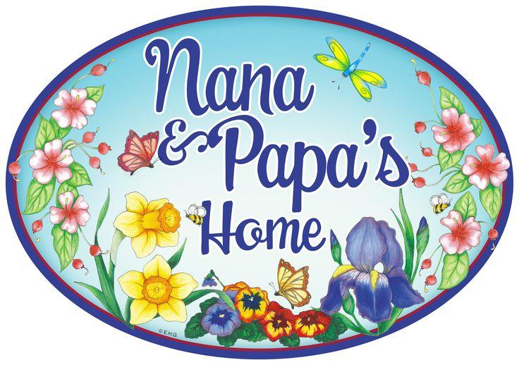 Welcome To Nana & Papa's Door Sign