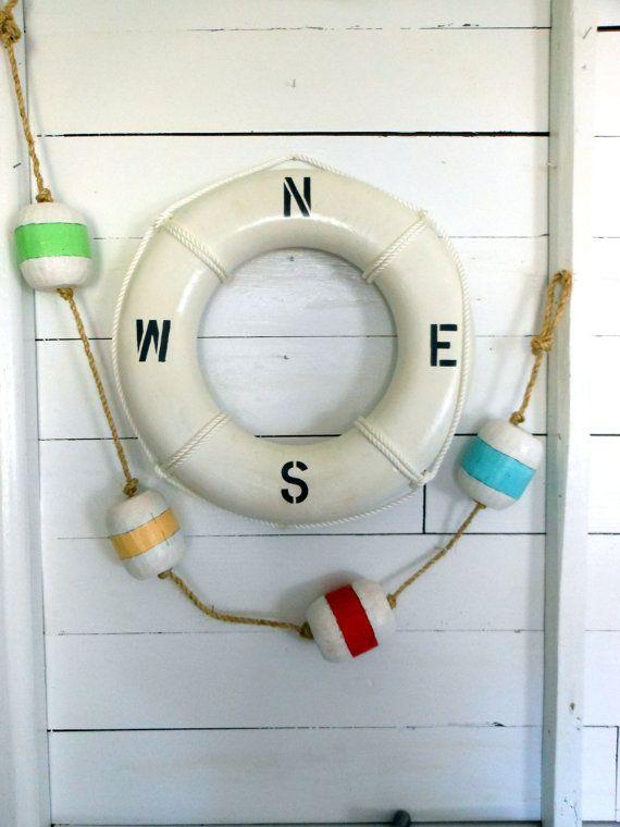 nautical cottage decorating   Cottage Decor. Wood Buoys . Assorted Colors. Gift Idea. Nautical Decor ...