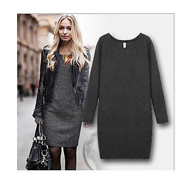YUNTUO®Women's long sleeve with velvet thickening package buttocks dress – USD $ 18.09