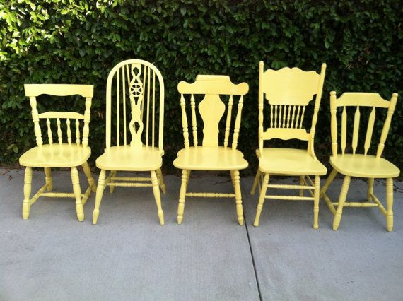 Mix and match painted kitchen/dining chairs: Farmhouse Kitchen Chairs Set of 5 Dining Chairs by ThePaintedLdy, $795.00